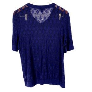 Talbot's Navy Open Knit Short Sleeve Cardigan XL